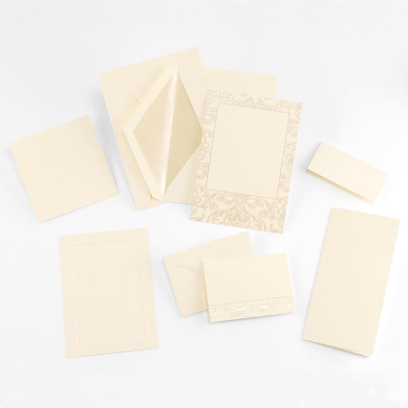 Fine Impressions Taupe Pearl Pattern Ecru Tiffany Invitation Ensemble