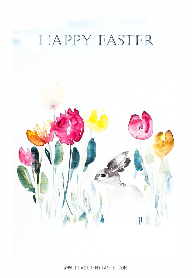 easter paper crafts decorations printable art watercolor tulips